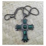 Silver Tone Green Stone Cross Necklace
