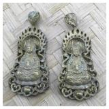 Pair of Layered Carved Brass Pendants