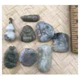 8 Small Light Green Stone Pendants
