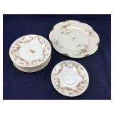 8 Pieces of Vintage Rose Patterned China