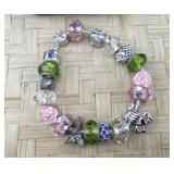 Pandora Type Pink and Green Sterling Accent