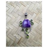Sterling Purple Botswana Agate and Peridot Pendant