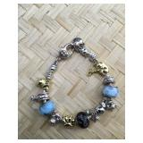 Pandora Type Blue and Purple Bracelet With