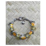 Pandora Type Sterling Accent Yellow and Gold