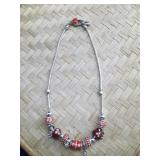 Pandora Type Red Glass and Enamel Necklace