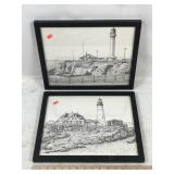 2 Signed Lighthouse Pencil Sketch Artwork Prints