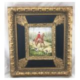 Original Framed Fox Hunting Painting on Canvas