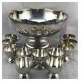 Silver Plated Punch Bowl with 11 Cups