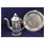 Wilton Pewter Coffee Pot & 1776 Plate