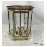 Octagonal Metal Light Fixture with Beveled Glass