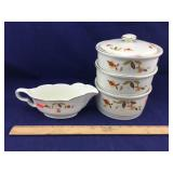 Hall Autumn Leaf Casseroles & Gravy Boat