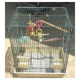 Metal Bird Cage with Plastic Base and Accessories