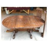 Vintage Oak Table with Double Pedestal Base