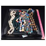 Six large bead costume jewelry necklaces