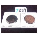 1842 large cent and 1849 large cent