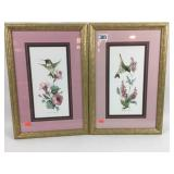 pair of artwork of hummingbirds signed by