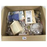 A box of arts and craft items