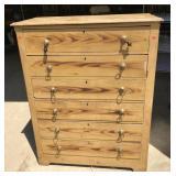 Vintage Pine 6 Drawer Dresser