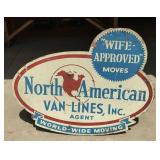 Vintage North American Van Lines Wood Sign