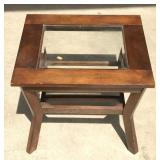 Small Wood Table with Beveled Glass Top Insert
