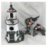 Lighthouse Birdhouse; Dolphin & Marlin Decorations