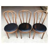 Set of 3 Rattan Chairs with Faux Leather Seats