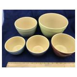 Set of 5 Heavy Gauge Porcelain Bowls