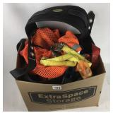 box of safety harnesses and other safety gear