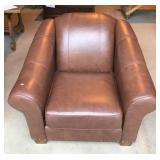 Brown Faux Leather Lounge Chair