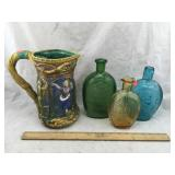 Colorful Bottles & Decorative Ceramic Pitcher