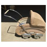 Vintage Art Deco West Germany Wicker Baby Buggy