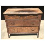 Vintage Solid Oak 2 Over 2 Drawer Dresser