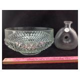 Antique French bottle and service bowl