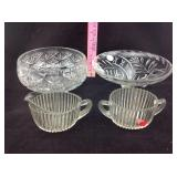 Two  Crystal Bowls and depression glass