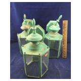 Set of 3 Old Green Wall Mounted Outdoor Lanterns