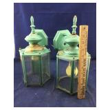Pair of Old Wall Mounted Green Outdoor Lanterns