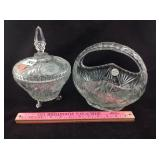 Crystal covered candy dish and cut crystal basket