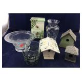 Etched Lenox Vase, Art Glass Bowl, Deco Birdhouses