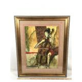 Framed Original Serigraph of Cello Player