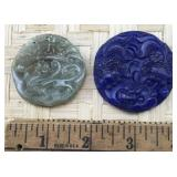 Light Green and Navy Blue Round Carved Pendants