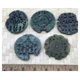 5 Large Round Carved Green Stone Pendants