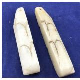 Pair of Long Off White Stone Pendants