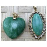 Pair of Gold Tone Green Stone Pendants