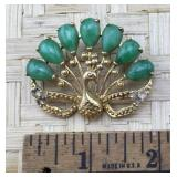 Gold Tone and Green Stone Peacock Pin