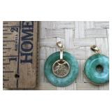 Pair of Gold Tone Round Green Stone Pendants