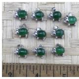 10 Tiny Silver Tone Pig and Green Stone Pendants