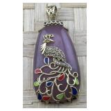 Purple Pendant With Gold Tone Peacock Overlay