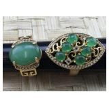 Pair of Gold Tone Rings With Green Stones