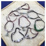 8 Strung Bracelets With Beads and Carvings