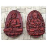 Pair of Red Carved Pendants